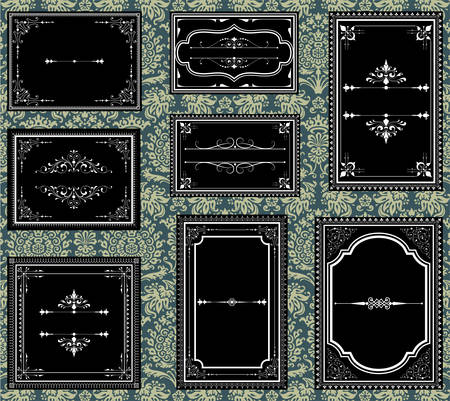 Ornate Vintage Frames  Set of Ornate vector frames.  Each frame is grouped individually for easy editing.  Colors are global.  Seamless pattern included in swatches window. Illustration