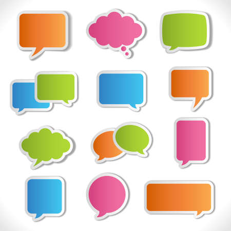 Colorful Speech Bubbles  Colorful vector speech bubbles with realistic shading and shadows.  Each element is grouped separately for easy editing. Vector