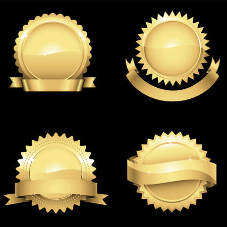few: Glossy Gold Seals  Set of 4 different glossy gold seals with banners.  Colors are just a few global swatches so they can be modified easily. Illustration
