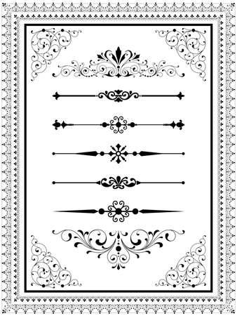Conjunto del ornamento Conjunto de ornamentos vectoriales pergaminos repetición fronteras descarta líneas y elementos de esquina. Repetición de cepillos fronterizos se incluyen en la ventana de pinceles. Ilustración de vector