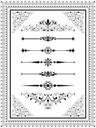 Ornament Set  Set of vector ornaments  scrolls repeating borders rule lines and corner elements.  Repeating border brushes are included in brushes window. Banco de Imagens - 40350558