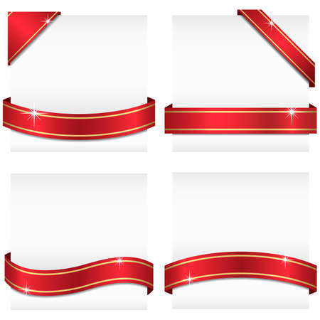 Glossy Ribbon Banners  Set of 4 red ribbon banners with gold stripes wrapping around white copy space and 2 corner banners.  Ribbons can be adjusted easily to fit any format.   Colors are global swatches. Vettoriali