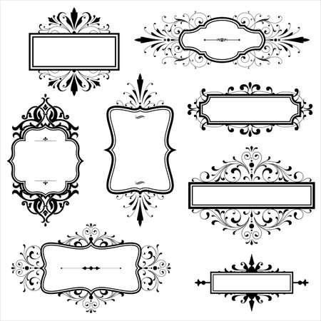 schriftrolle: Vintage-Rahmen mit Schriftrollen Set von Vintage-Rahmen mit Spiralelemente. Datei für die einfache Bearbeitung geschichtet.