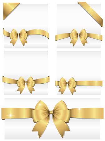 adjusted: Gold Ribbon Banners  Set of 5 shiny ribbon banners wrapping around white copy space and 2 corner banners.  Ribbons can be adjusted easily to fit any format.  Colors are global swatches.