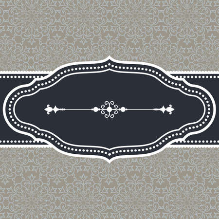 Vintage Frame on Damask Background  Frame on seamless damask background.  Background tile is included in swatches panel.  Colors are global for easy editing.