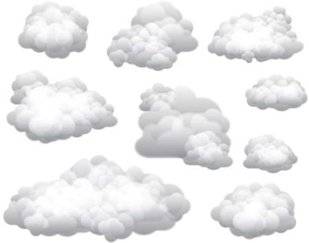 isolated on grey: Vector Clouds  Clouds can be used on any color background.