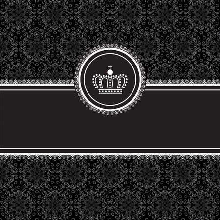 vintage frame vector: Black Frame on Damask Background  Frame on seamless damask background.  Background tile is included in swatches panel.  Colors are global for easy editing.