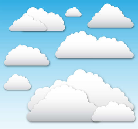 Vector Clouds - Illustration with drop shadow effects.  Clouds can be used on any color background. 版權商用圖片 - 41757436