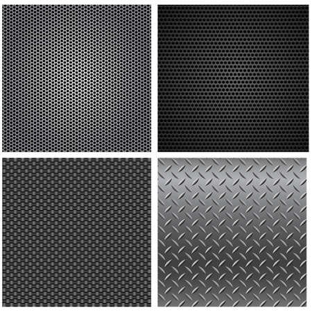 patterns vector: Metal Textures Seamless Patterns - Set of four vector metal textures that can be tiled seamlessly.  Filed is layered for easy editing. Illustration