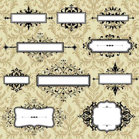 Vintage Frames On Damask Background - Set of ornate retro frames.  File is layered for easy editing.  Seamless pattern tile is included in swatches window.  Colors are global for easy editing. Vettoriali