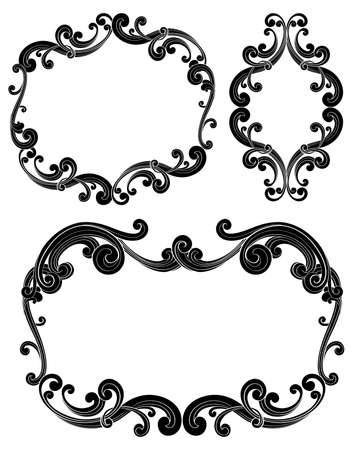 Ornate Scroll Frames - Set of three isolated black scroll frames.  Colors can be easily edited. Ilustração