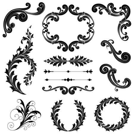 hojas parra: Ornamento Floral Set - volutas ornamentales, divisores de texto, marcos y guirnaldas. Cada elemento est� agrupada para facilitar la edici�n. Vectores