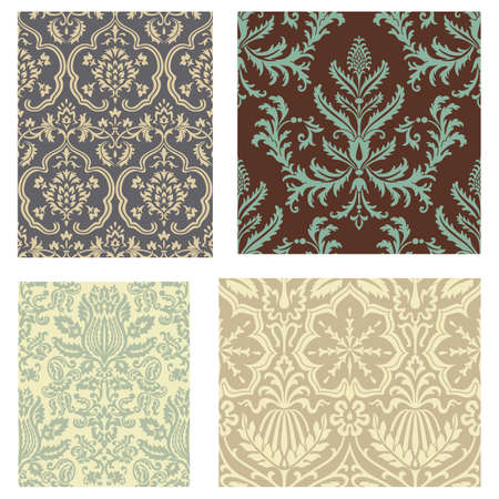 Damask Wallpaper Pattern Set - Set of 4 seamless pattern swatches.  Swatches are also included in swatches window.  Colors are global for easy editing. Ilustrace