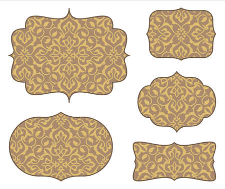 ornaments vector: Arabesque Frames with Seamless Pattern - Set of 5 frames and seamless pattern.  Colors are global for easy editing.  Pattern tile is included in swatches window