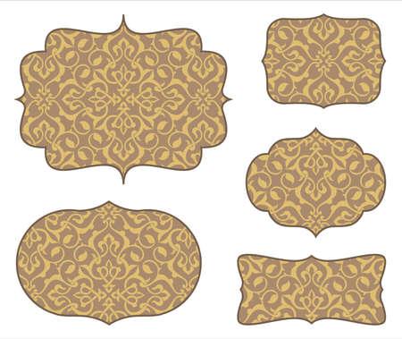 arabesco: Marcos arabescos con el modelo inconsútil - conjunto de 5 marcos y patrón transparente. Los colores son globales para facilitar la edición. azulejo del modelo se incluye en la ventana de muestras