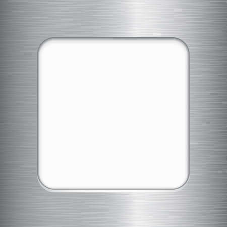 brushed aluminum: Brushed Metal Frame - Vector brushed metal frame with copy space.  Brushed metal texture is just one compound path over gradient background. File is layered for easy editing.
