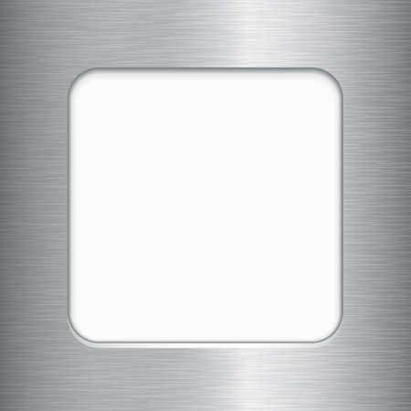 brushed aluminum: Marco de metal cepillado - Vector cepillado estructura met�lica, con copia espacio. Cepillado textura de metal es s�lo un trazado compuesto sobre el fondo degradado. Archivo es en capas para facilitar la edici�n. Vectores