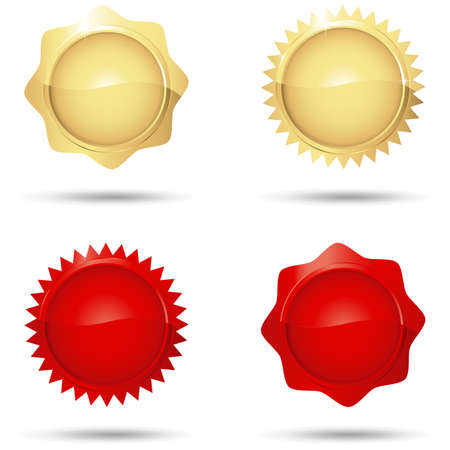 wax glossy: Glossy Red and Gold Seals - Set of 4 glossy red and gold seals.  Colors are just a few global swatches, so they can be modified easily. Illustration