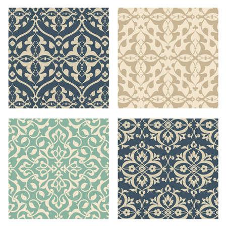 Arabesque patroon set - Set van 4 naadloze Arabesque Patterns. Kleuren zijn wereldwijd voor eenvoudige bewerking. Patroon tegels worden opgenomen in stalen raam.