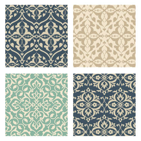 Arabesque Pattern Set - Set of 4 Seamless Arabesque Patterns.  Colors are global for easy editing.  Pattern tiles are included in swatches window.