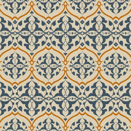Arabesque Pattern - Colors are global for easy editing.  Pattern tiles are included in swatches window. Illustration