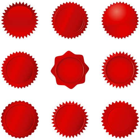 sellos: Red Seals - Conjunto de 9 sellos rojos diferentes. Cada sello se agrupan por separado para facilitar la edición. Los colores son sólo unos pocos muestras globales, por lo que se pueden modificar fácilmente. Vectores