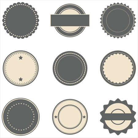 stamp seal: Vintage Stamps and Frames - Set of vintage stamp designs.  Each element is grouped, and colors are global for easy editing.  Repeating border brushes are included in brushes window. Illustration