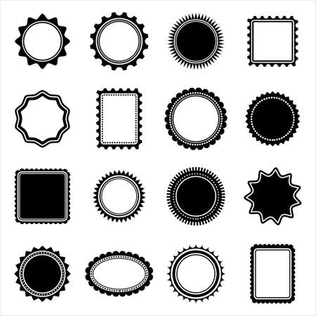 Stamp and Frame shapes - Set of 16 stamp and frame shapes isolated on transparent background.  Colors can be easily edited. Иллюстрация