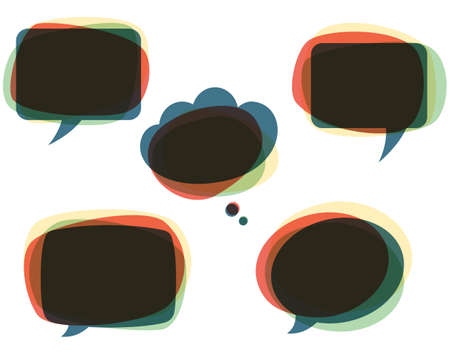 contemplation: Colorful Speech Bubbles - Set of colorful, abstract speech bubbles.  Each element is grouped individually and colors are global for easy editing. Illustration