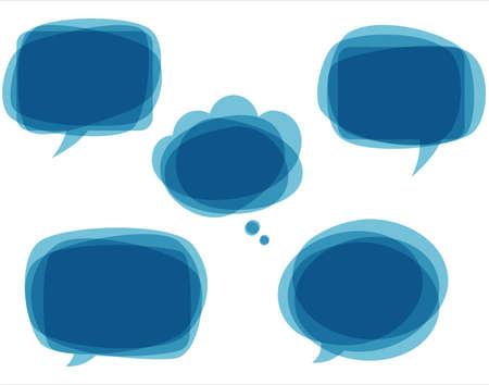 burbuja: Azul Burbujas del discurso - Conjunto de color azul, bocadillos de texto abstractos. Cada elemento se agrupa de forma individual para facilitar la edición.