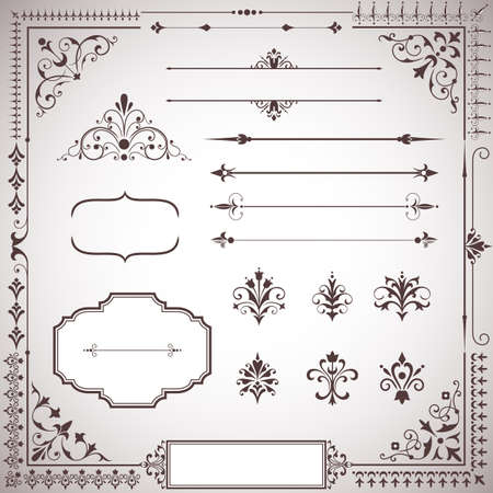 filigree border: Ornament Set - Set of ornamental scrolls, text dividers, frames and corners.  Each element is grouped for easy editing.