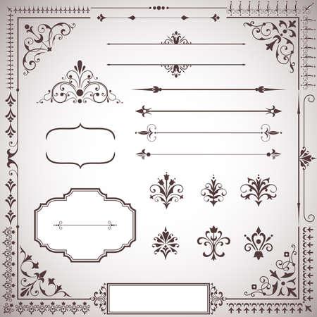 verschnörkelt: Ornament Set - Set von ornamentalen Schriftrollen, Textteiler, Rahmen und Ecken. Jedes Element ist für das einfache Bearbeiten gruppiert.