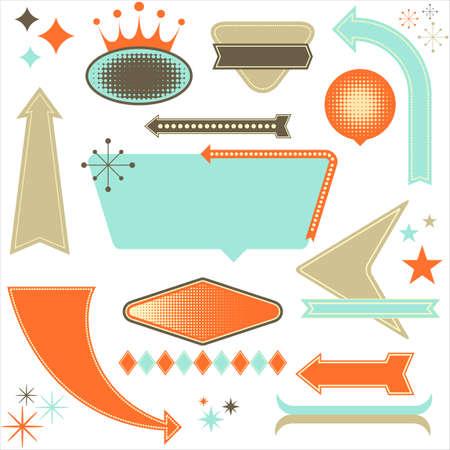 레트로 디자인 요소는 - 레트로 1950 년대 스타일의 디자인 요소의 집합입니다. 각 요소는 개별적으로 그룹화됩니다. 색상은 쉽게 편집 할 세계입니다.