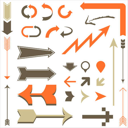 arrow sign: Retro Arrow Designs - Set of arrow designs in different styles.  Each element is grouped and colors are global for easy editing.