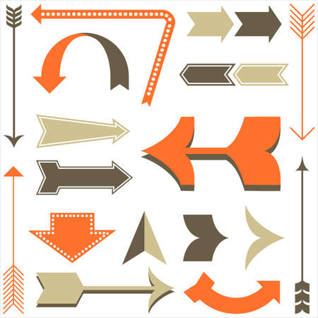 vintage sign: Retro Arrow Designs - Set of arrow designs in different styles.  Each element is grouped and colors are global for easy editing.