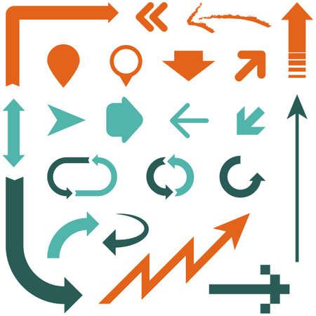 레트로 화살표 디자인 - 서로 다른 스타일의 화살표 디자인의 집합입니다. 각 요소는 그룹화 된 색상과 쉬운 편집을위한 글로벌 있습니다. 일러스트