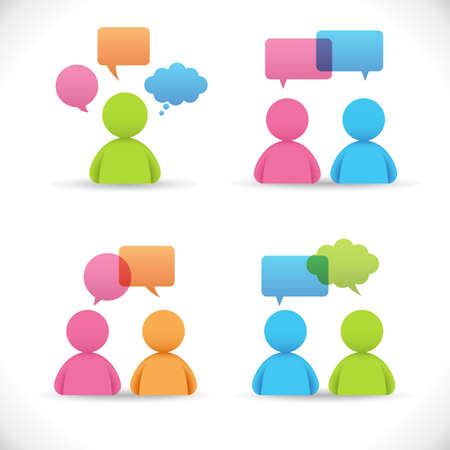 Conversations Vector - Communication concept, people in conversation.  Colors are global, so file can be recolored easily. Filed is layered, and all elements are grouped separately. Illustration