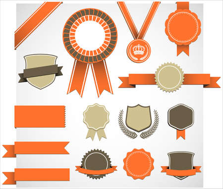 Retro Award Elements Set - Set of retro medal, ribbon and emblem design elements.   Colors are global, so file can be recolored easily.  All elements are grouped separately, and file is well layered for easy editing.