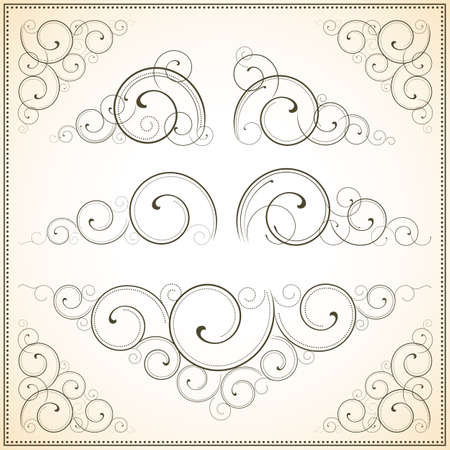 individually: Ornate Vector Scrolls - Set of scroll ornaments.  Each element is grouped individually.  Colors are global for easy editing. Illustration