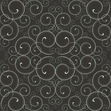Ornate Scroll Pattern - Seamless pattern swatch included in swatches window.  Colors are global for easy editing. Ilustração