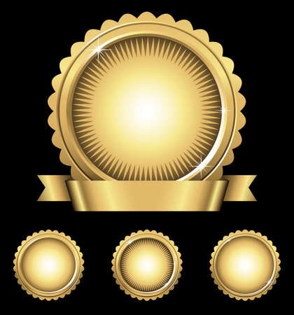 Shiny Gold Emblem  Seals - Shiny gold emblem with banner, and 3 individual gold seals in different styles.  Colors are just a few global swatches, so they can be modified easily.  File is layered, and each seal is grouped separately for easy editing. Ilustrace