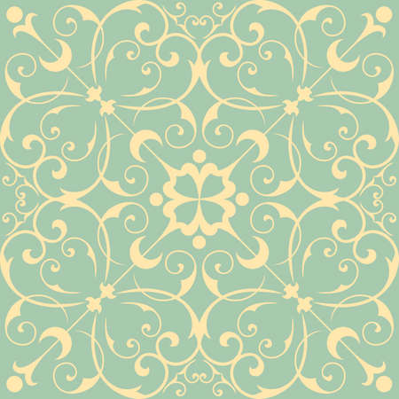 victorian pattern: Seamless Wallpaper Pattern - Seamless pattern tile.  Tile is also included in swatches window.  Colors are global for easy editing. Illustration