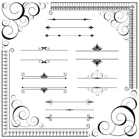 Weinlese-Verzierung - Set von Ornamenten - Schriftrollen, Ecken, Textteiler und Wiederholen Grenzen. Jedes Element wird individuell gruppiert. Repeating Grenze Bürsten in Bürsten Fenster enthalten. Standard-Bild - 44955706