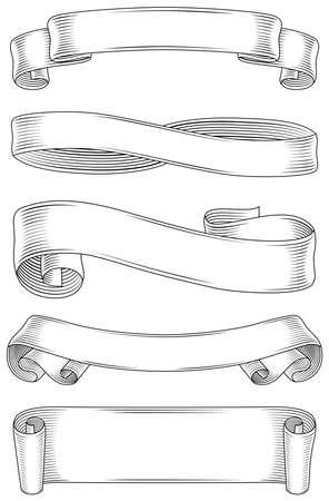 ruban noir: Classique Banners Set - Ensemble de très détaillées, des bannières ombragées. Chaque bannière est groupé individuellement, et chaque section d'ombrage sont regroupées séparément pour éditer facilement.