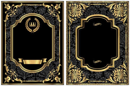 seamless damask: Gold Vintage Labels - Set of two vintage style labels with gold scroll frames and damask details.  Damask pattern swatch is in the swatches panel.  Colors are just a few global swatches, so file can be recolored easily.  Each label is grouped separately f Illustration