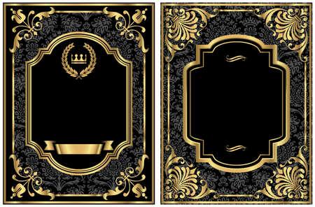 Gold Weinleseaufklebern - Satz von zwei Vintage-Etiketten Stil mit Goldrolle-Rahmen und Damast-Details. Damast-Muster-Farbfeld in der Farbfelder. Farben sind nur einige globale Farbfelder, so kann leicht umgefärbt Datei werden. Jedes Etikett wird separat f gruppiert Standard-Bild - 46069854