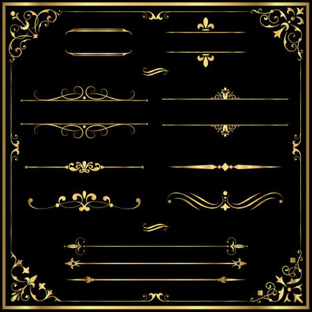 rule: Gold Rule Lines and Ornaments - Set of vector text dividers and frame in gold.  File is layered, and each element is grouped separately for easy editing.  Colors are just a few global swatches, so elements can be recolored easily. Illustration