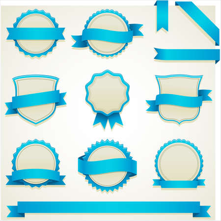 curled corner: Seal and Banner Web Elements - Set of seal and banner web elements.   Colors are global, so file can be recolored easily.  All elements are grouped separately, and file is well layered for easy editing.