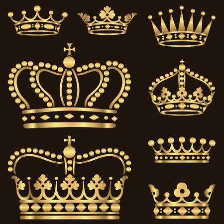 vector elements: Gold Crown Set - Set of ornate gold crowns.  Colors in gradients are just a few global swatches, so file can be recolored easily.  Each crown is grouped individually for easy editing.