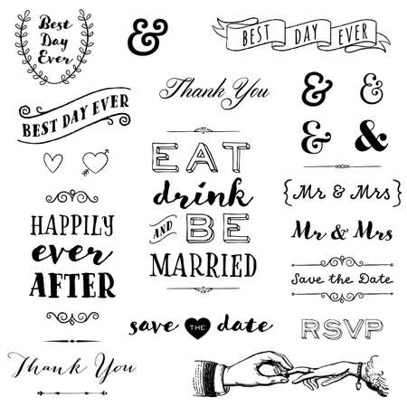 hand drawn wedding typography - collection of hand drawn wedding typography messages and graphics Vettoriali